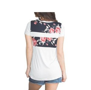 Tops - Floral Color Block Tee
